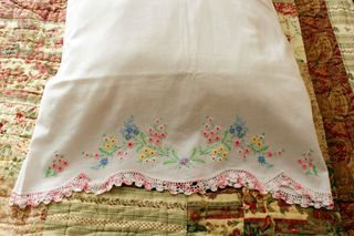 Closeup of vintage pillowcase