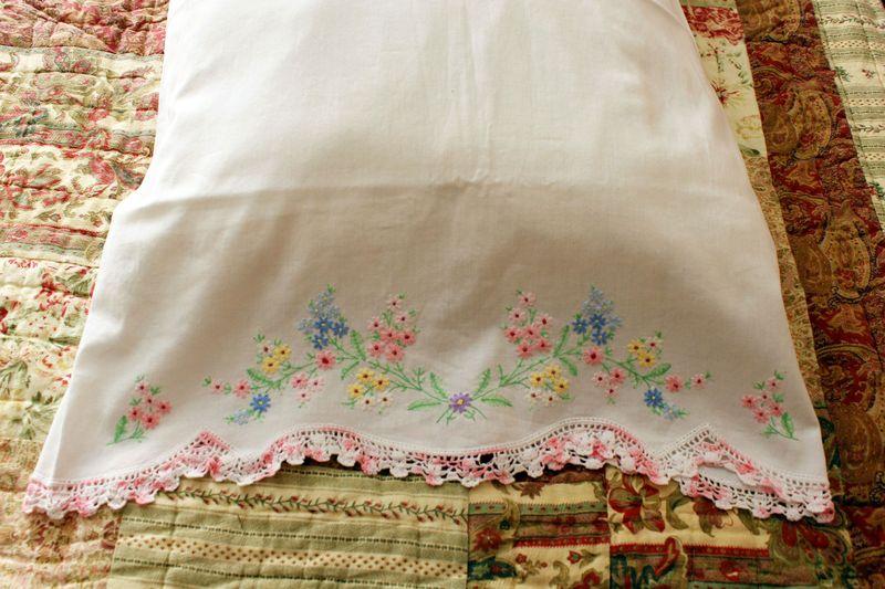 Closeup of vintage pillowcase